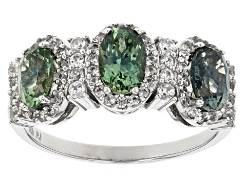 Blue Green Montana Sapphire 10k White Gold 3 Stone Ring 2.30ctw