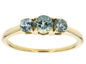 Blue Montana Sapphire 10k Yelllow Gold 3 Stone Ring .93ctw