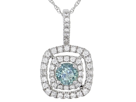 Blue Montana Sapphire 10K White Gold Pendant With Chain .82ctw