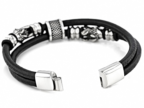 Stainless Steel Imitation Leather Mens Cord Bracelet