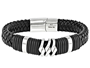 Stainless Steel Skull Headdress Braided Leather Mens Bracelet