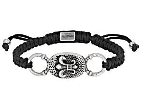 Stainless Steel Center Piece Mens Cord Bolo Bracelet