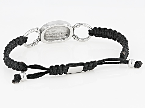 Stainless Steel Center Piece Mens Cord Bolo Bracelet