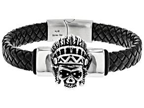 Stainless Steel Skull Headdress Braided Leather Mens Bracelet