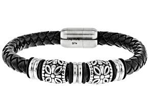 Stainless Steel Links on Braided Leather Bracelet