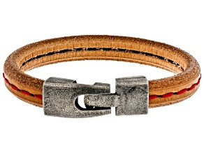 Mens Stainless Steel Red Stitched Imitation Leather Bracelet