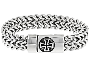 Mens Stainless Steel Chain Link Cross Bracelet