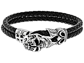 Mens Stainless Steel Skull Double Strand Braided Imitation Leather Bracelet