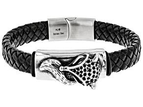 Stainless Steel Braided Mens Leather Bracelet