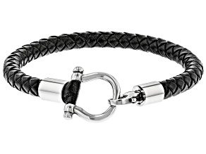 Mens Stainless Steel Braided Imitation Leather Bracelet