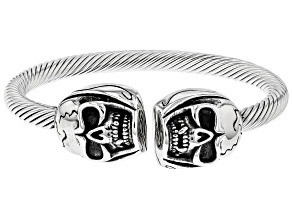 Stainless Steel Skull Mens Open Cuff Bracelet