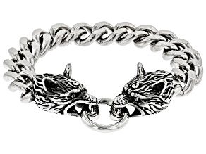 Stainless Steel Wolf Mens Bracelet