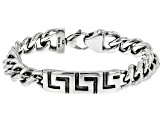 Mens Greek Key ID Tag Stainless Steel Chain Link Bracelet