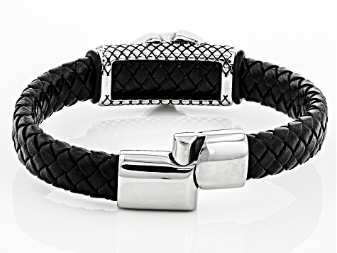 Stainless Steel Station Woven Imitation Black Leather Bracelet