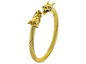 Yellow Stainless Steel Twisted Cable Dragon Bracelet