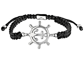Anchor Ship Wheel Stainless Steel Imitation Black Leather Bracelet