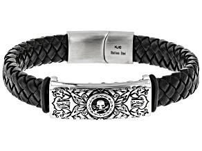 Stainless Steel Skull Station Woven Imitation Black Leather Bracelet