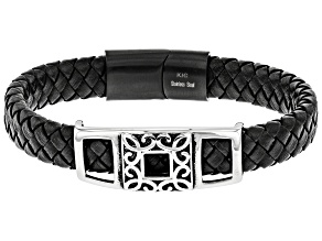 Stainless Steel Siding Station Woven Imitation Black Leather Bracelet