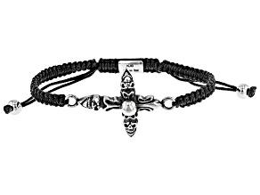 Gothic Cross Stainless Steel Imitation Black Leather Bracelet
