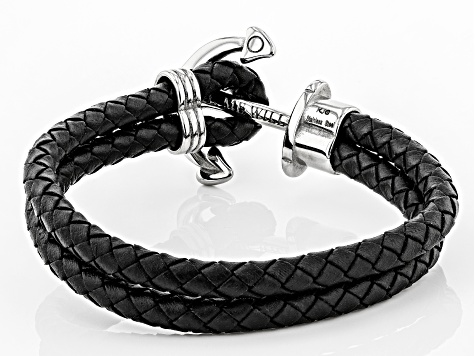 Anchor Stainless Steel Woven Imitation Black Leather Bracelet