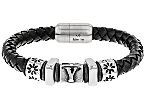 Y Motif Stainless Steel Braided Imitation Black Leather Bracelet