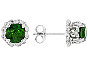 Green Chrome Diopside Stainless Steel Earrings 1.62ctw
