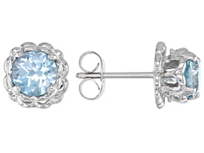 Round Glacier Topaz™ Stainless Steel Earrings 1.87ctw