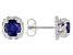 Round Lab Created Blue Sapphire Stainless Steel Stud Earrings 1.70ctw