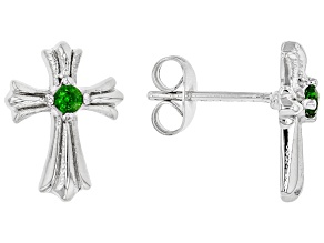 Green Chrome Diopside Rhodium Over Stainless Steel Cross Earrings 0.14ctw