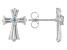 Sky Blue Topaz Rhodium Over Stainless Steel Cross Earrings 0.14ctw