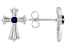 Blue Lab Created Sapphire Stainless Steel Cross Earrings. 0.15ctw