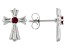 Red Lab Created Ruby Stainless Steel Cross Earrings 0.12ctw