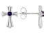 Round African Amethyst Rhodium Over Stainless Steel Cross Earrings 0.11ctw