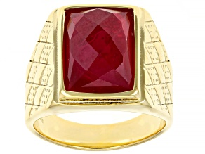 Lab Created Ruby Yellow Tone Stainless Steel Men's Solitaire Ring 6.37ct