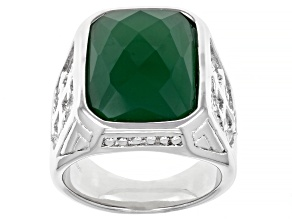 Green Onyx Stainless Steel Mens Ring 8.60ct