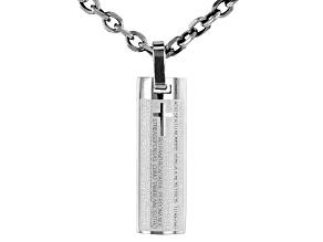 Spanish Language Lord's Prayer Stainless Steel Pendant with Chain