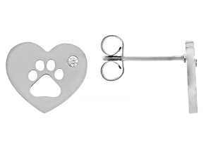 White Zircon Stainless Steel Heart & Paw Print Stud Earrings