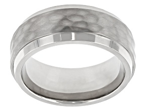 Hammered Stainless Steel Band Ring