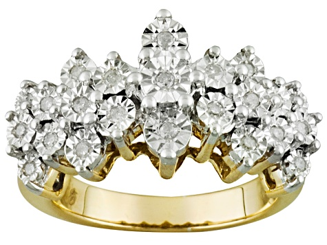acb8c5a3bf6b8 Diamond 14k Yellow Gold Over Silver Pyramid Ring .25ctw - MTU119Y ...
