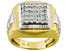 White Diamond 14k Yellow Gold And Rhodium Over Sterling Silver Gents Ring 0.15ctw