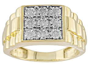 White Diamond 14k Gold Over Sterling Silver Gents Ring .17ctw