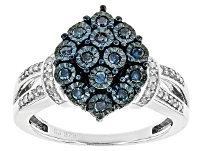Blue And White Diamonds Sterling Silver Ring .35ctw