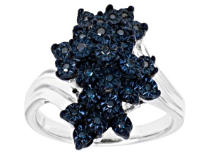 Blue Diamonds Sterling Silver Ring .15ctw