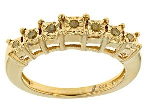 14k Yg Over Silver Yellow Diamond Ring .10ctw