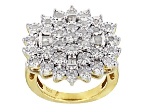 Diamond, 14k Yellow Gold Over Sterling Silver Ring .50ctw