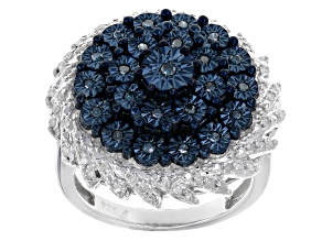 Blue And White Diamond Sterling Silver Ring .40ctw
