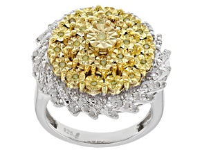 Yellow And White Diamond Sterling Silver Ring .40ctw