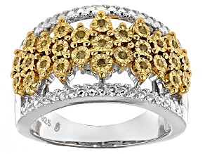 Yellow Diamond Sterling Silver Ring .20ctw