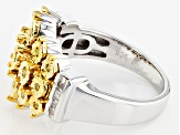 Yellow And White Diamond Silver Ring  .25ctw