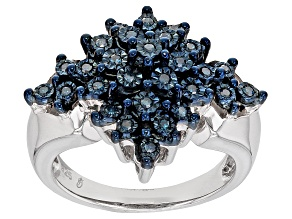 Rhodium Over Sterling Silver Blue Diamond Ring .22ctw
